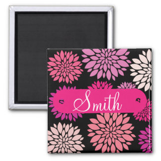 Custom Personalized with Name Pink Purple Flowers Magnet
