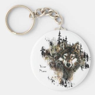 Custom, Personalized Wolf Mountain Animal art Key Ring