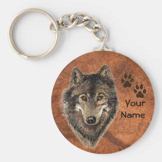 Custom, Personalized Wolf Tracks Key Ring