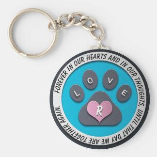 Custom Pet Memorial Heart Monogram Key Ring