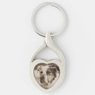 Custom Pet Memorial Photo Always in My Heart Silver-Colored Twisted Heart Key Ring