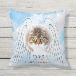 Custom Pet Memorial with Angel Wings Outdoor Cushion