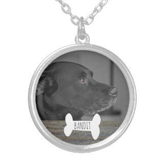 Custom Pet Photo Memorial Keepsake | Rustic Wood Silver Plated Necklace