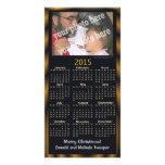 Custom Photo 2015 Calendar Card Black Merry Xmas Photo Greeting Card