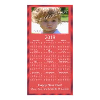 Custom Photo 2018 Calendar Card Happy New Year Red