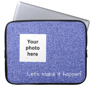Custom photo and text blue faux glitter laptop sleeve