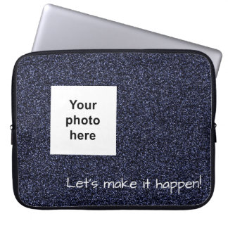 Custom photo and text dark blue faux glitter laptop sleeve