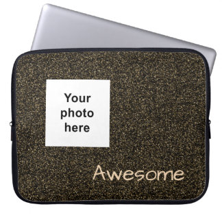 Custom photo and text dark gold faux glitter laptop sleeve