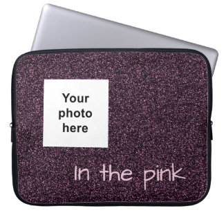 Custom photo and text dark pink faux glitter laptop sleeve