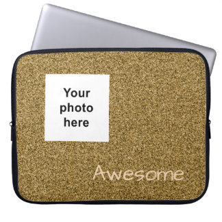 Custom photo and text gold faux glitter laptop sleeve