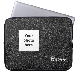 Custom photo and text grey faux glitter laptop sleeve