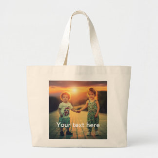 Custom Photo and Text Large Tote Bag
