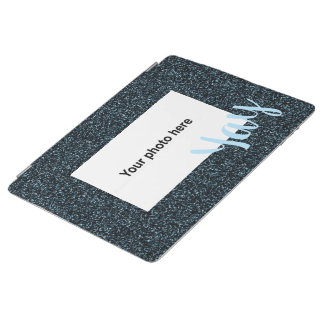 Custom photo and  text on dark teal faux glitter iPad smart cover
