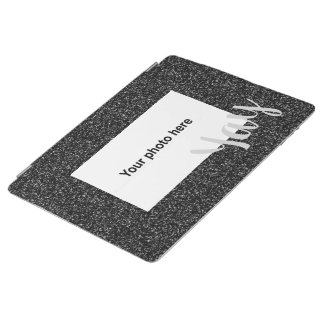 Custom photo and  text on faux glitter iPad cover