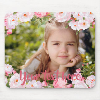 Custom Photo and Text Pink Cherry Blossoms Border Mouse Pad