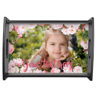 Custom Photo and Text Pink Cherry Blossoms Border Serving Tray