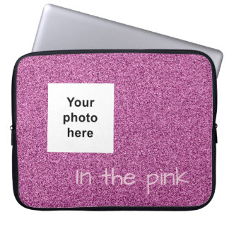 Custom photo and text pink faux glitter laptop sleeve