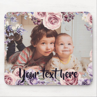 Custom Photo and Text Pink Roses Border Mouse Pad