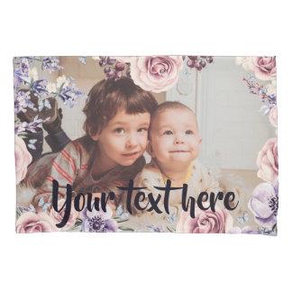 Custom Photo and Text Pink Roses Border Pillowcase