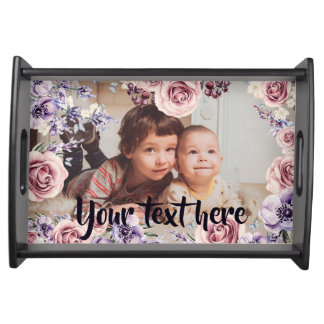 Custom Photo and Text Pink Roses Border Serving Tray