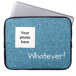 Custom photo and text teal faux glitter laptop sleeve