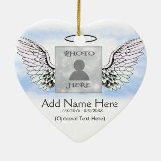 Custom Photo Angel Wings and Heart Memorial Ceramic Heart Decoration