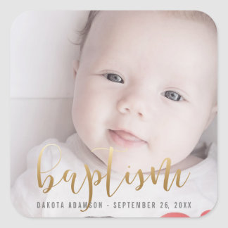 Custom Photo | Baptism Gold Calligraphy Square Sticker