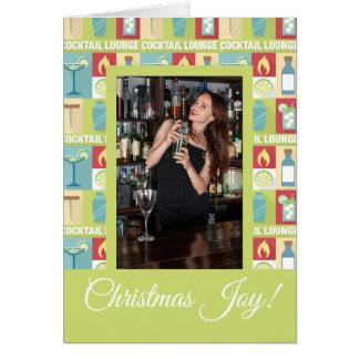 Custom Photo Bartender Christmas Joy Card