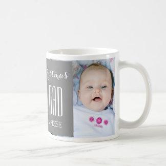 Custom Photo Best Dad Christmas Mug Grey