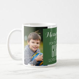 Custom Photo Best Grandma Christmas Mug Green