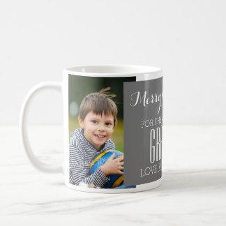 Custom Photo Best Grandpa Christmas Mug Grey