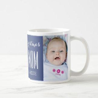 Custom Photo Best Mom Christmas Mug Blue