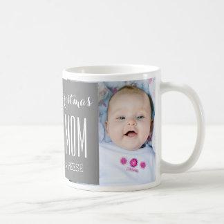 Custom Photo Best Mom Christmas Mug Grey