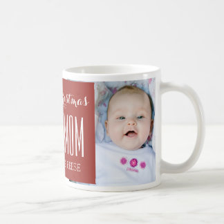 Custom Photo Best Mom Christmas Mug Red