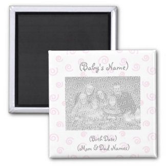 Custom Photo Birth Announcement Magnet-Baby Girl Square Magnet