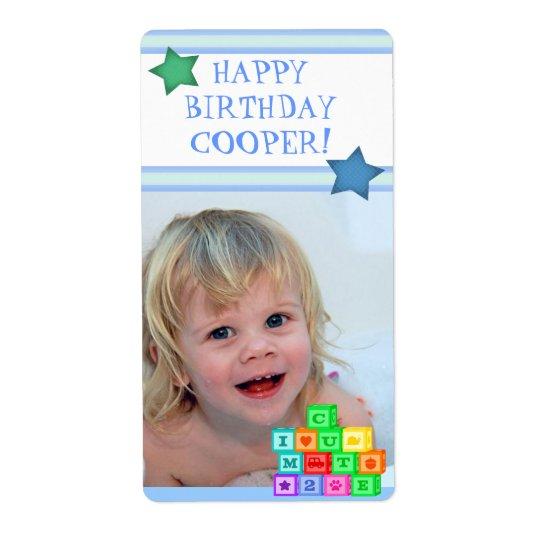 Custom Photo Birthday Boy Gift Label