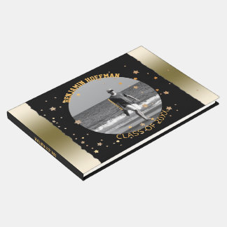 Custom Photo | Black Gold Stars Graduation Party Guest Book