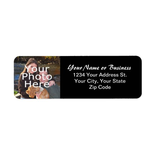Custom Photo Black Return Address Label