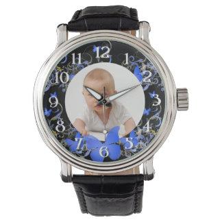 Custom photo/ Blue Butterfly frame Wrist Watch