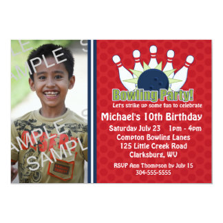 Custom Photo Bowling Birthday Party 13 Cm X 18 Cm Invitation Card