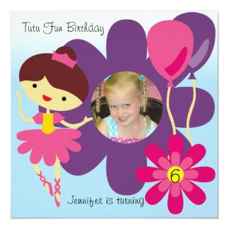Custom Photo Brunette Ballerina Birthday Invite