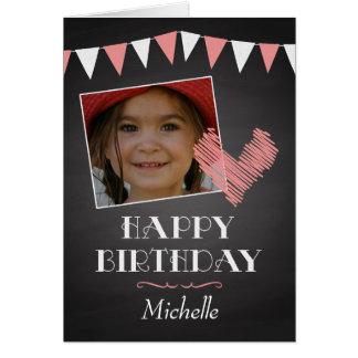 Custom Photo Chalkboard with Heart Birthday Card