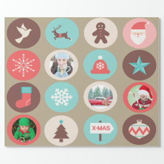 Custom Photo Christmas Icon Large Medallions Wrapping Paper