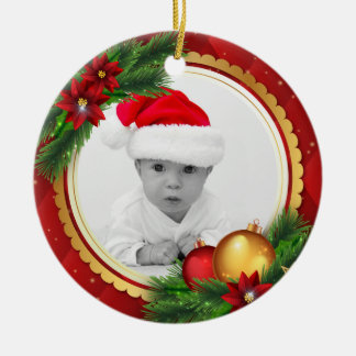 Custom Photo Classic Christmas Add Baby Pet Family Ceramic Ornament