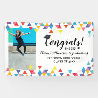 Custom Photo Colorful Congrats Graduation Party Banner