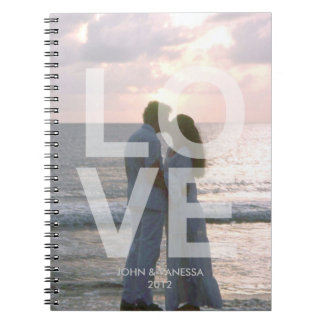 Custom photo cover LOVE modern wedding journal