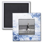 Custom Photo Create Your Own | Rustic Blue Flowers Magnet