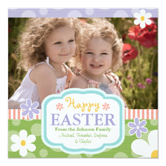 Custom Photo Easter Card Flowers and Polkadots