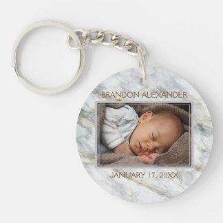 Custom Photo Elegant Blue Gray Marble Pattern Key Ring