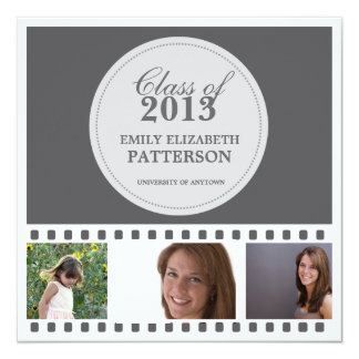 Custom Photo Film Graduation 13 Cm X 13 Cm Square Invitation Card
